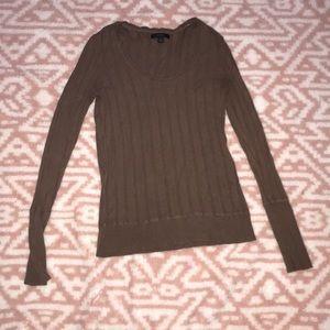 Dark brown scoop neck sweater extra long sleeves
